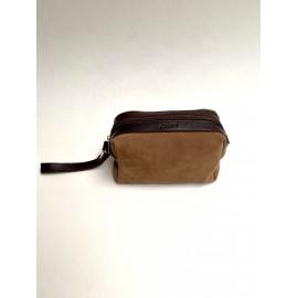 Brown suede toiletry bag