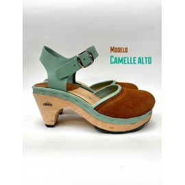 camel and turquoise high ballerina clog( Mod. Camelle)