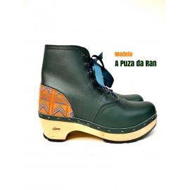 green clog with ethnic heel